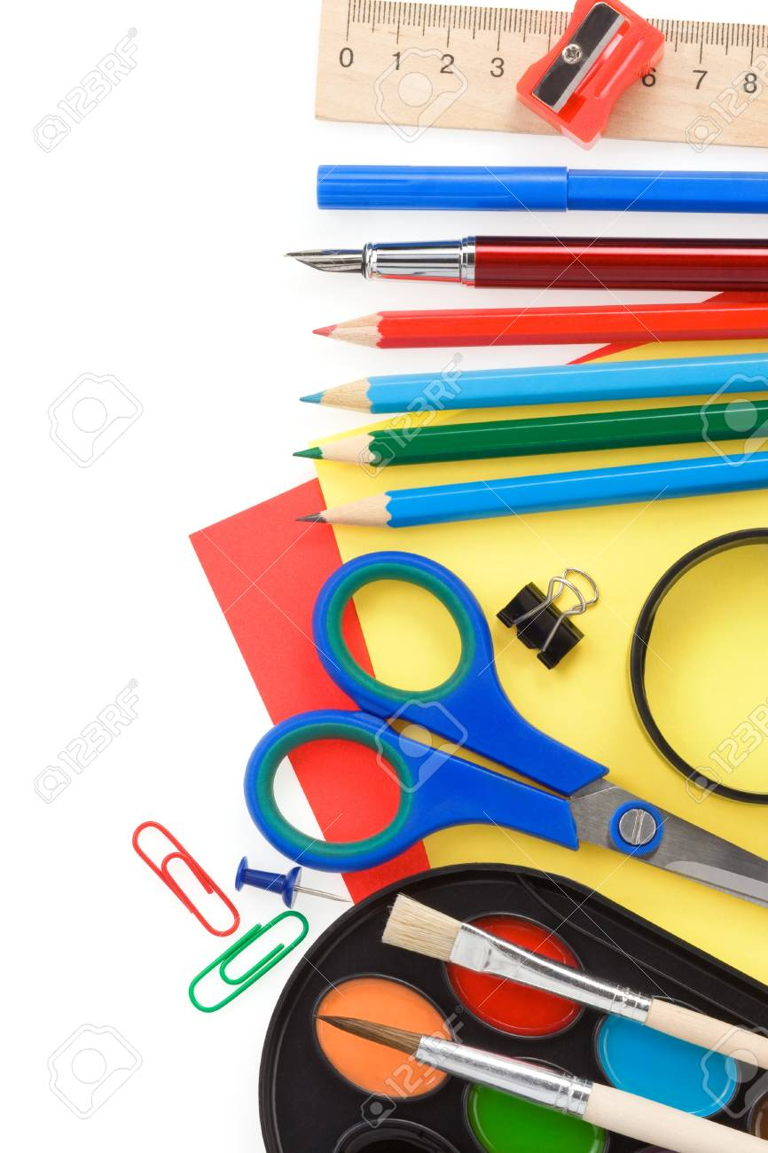 back to school and supplies isolated on white background Stock Photo - 12411219
