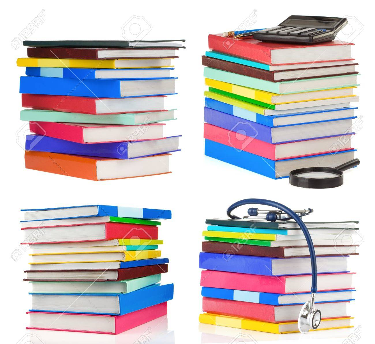 pile of books collage isolated on white background Stock Photo - 12411036