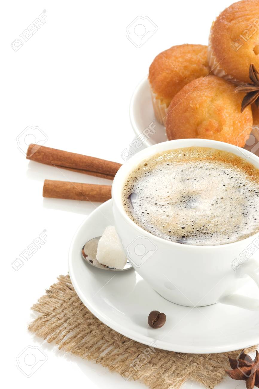 cup of coffee with beans and sweets isolated on white background Stock Photo - 13005433