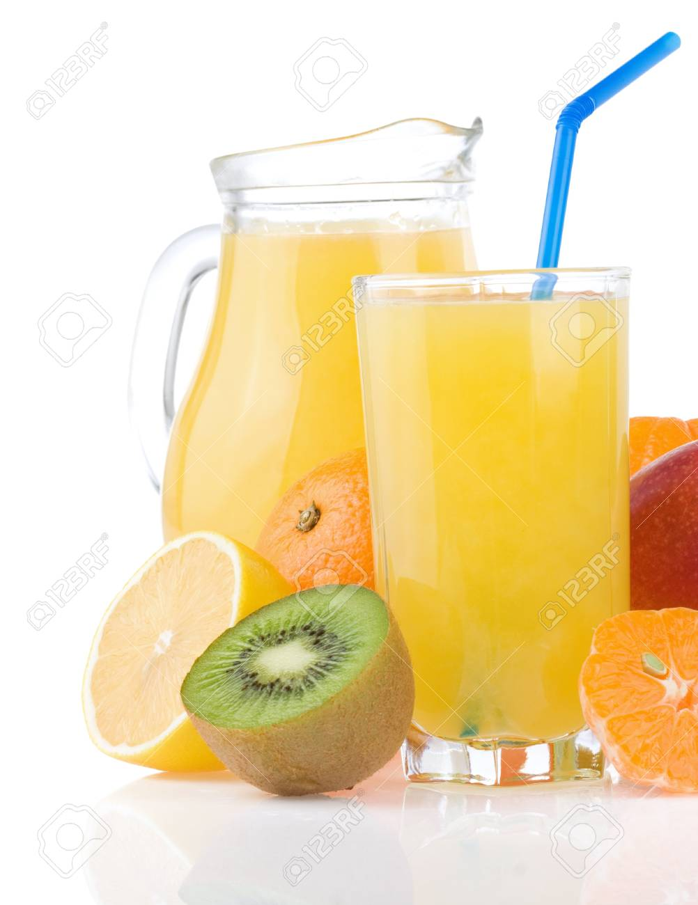 fresh tropical fruits and juice in glass isolated on white background Stock Photo - 13585829