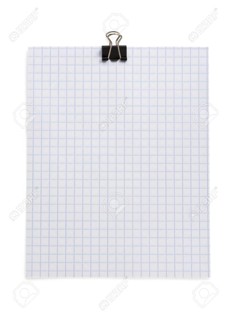 note checked paper and clip isolated on white background Stock Photo - 15459907