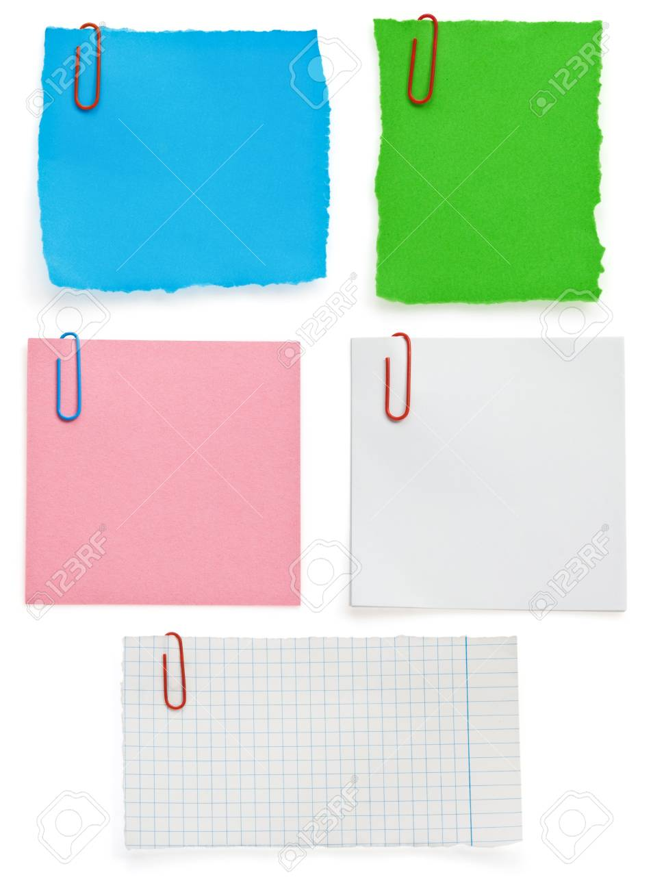 ragged note paper and clip isolated on white background Stock Photo - 16657769