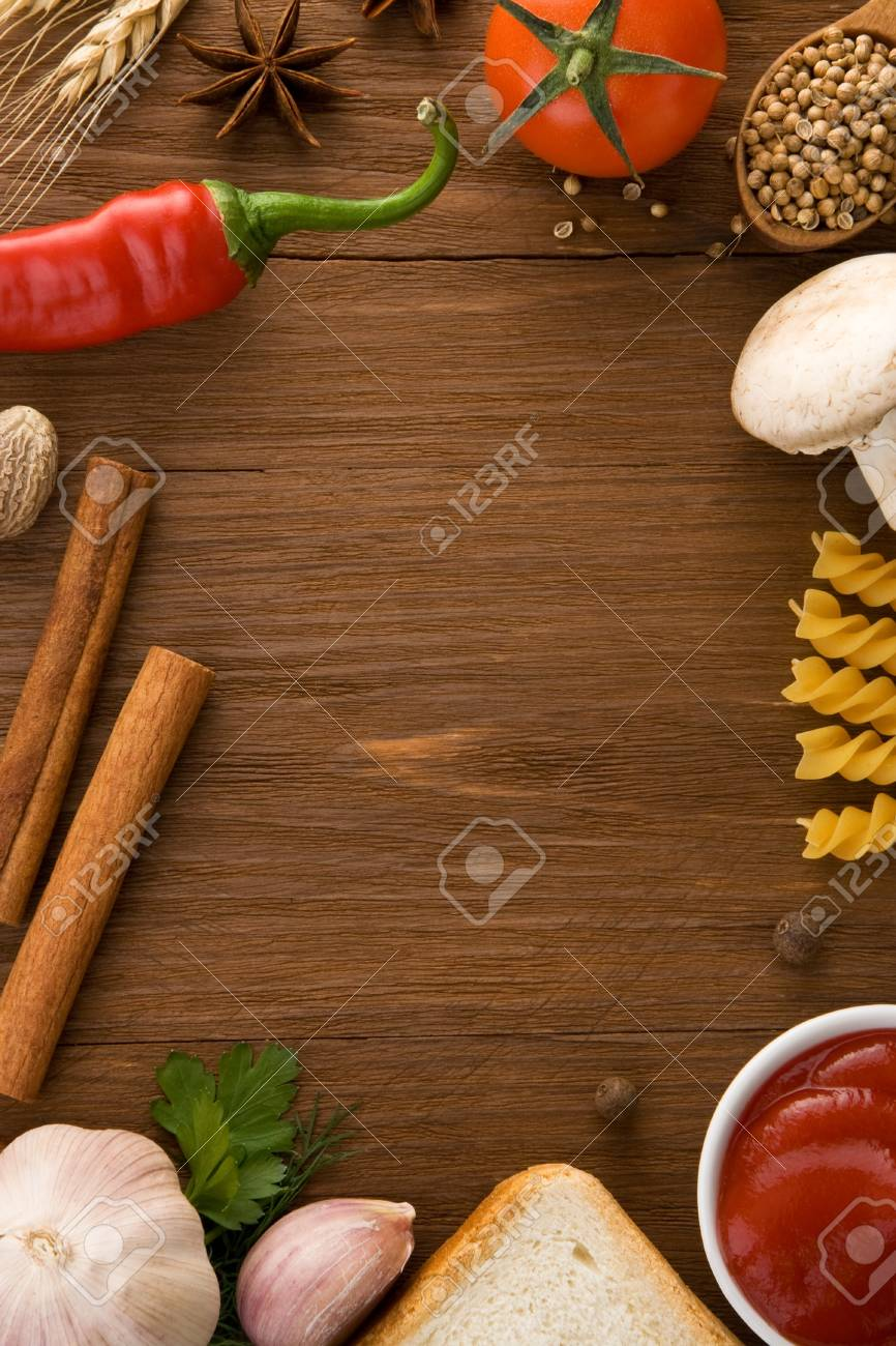 food ingredients and spices on wooden table Stock Photo - 16657786