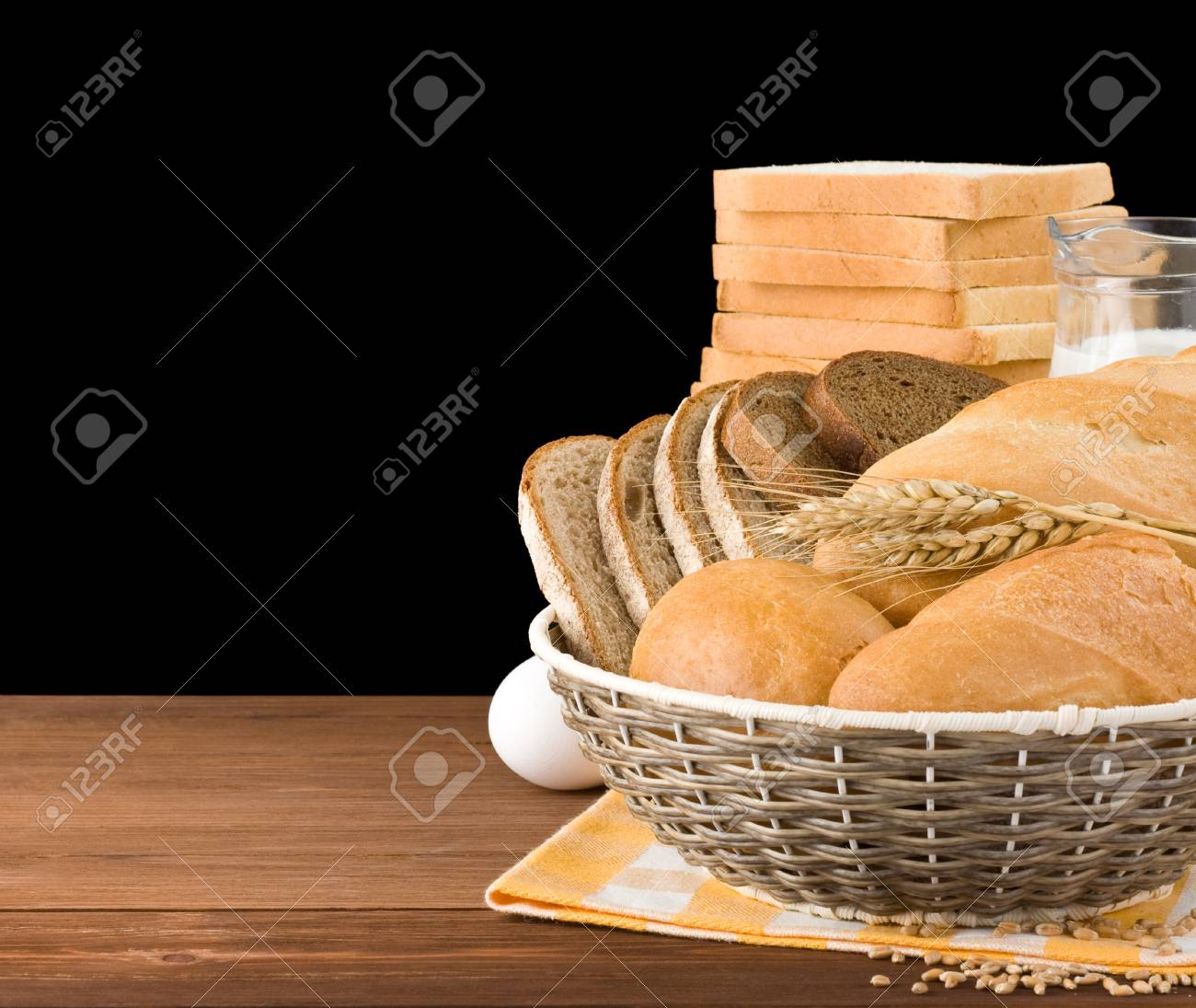 fresh bread isolated on black background Stock Photo - 17602730