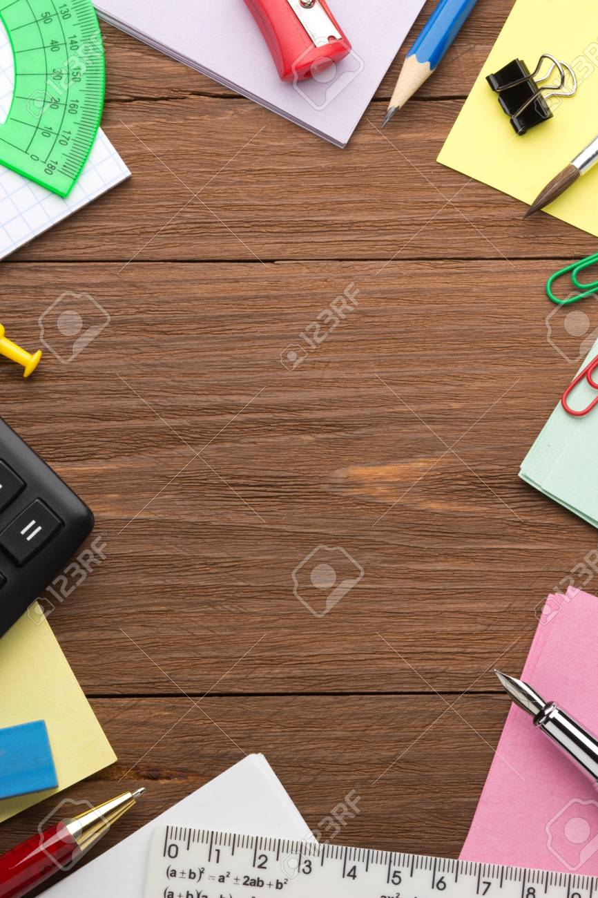 back to school concept on wood background Stock Photo - 17602865