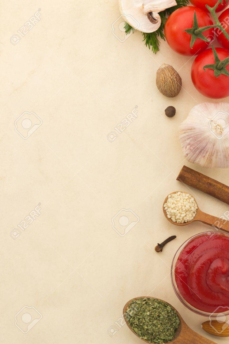 food ingredients and spices on aged background - 18859593