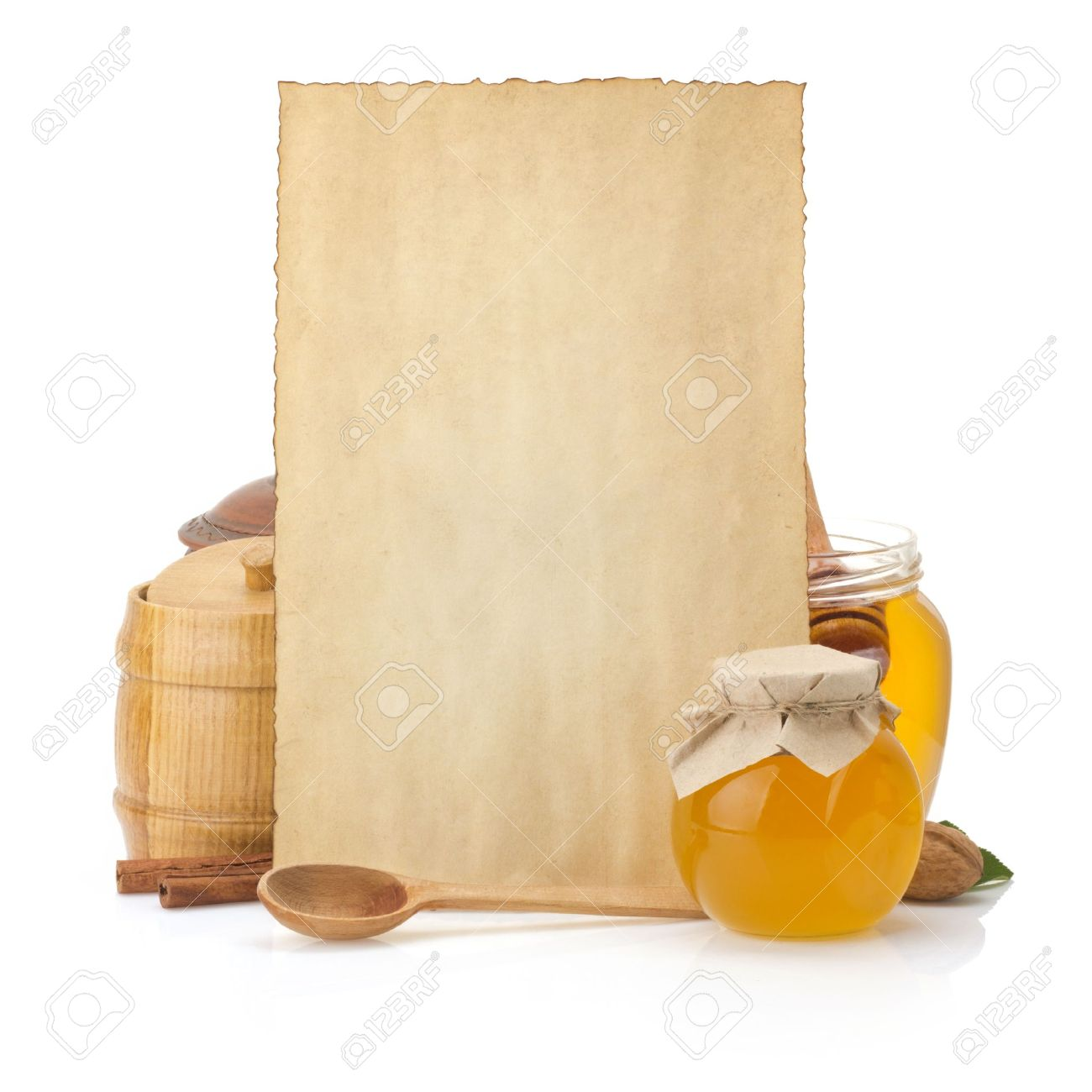 cooking recipes background and jar full of honey on white - 19575908