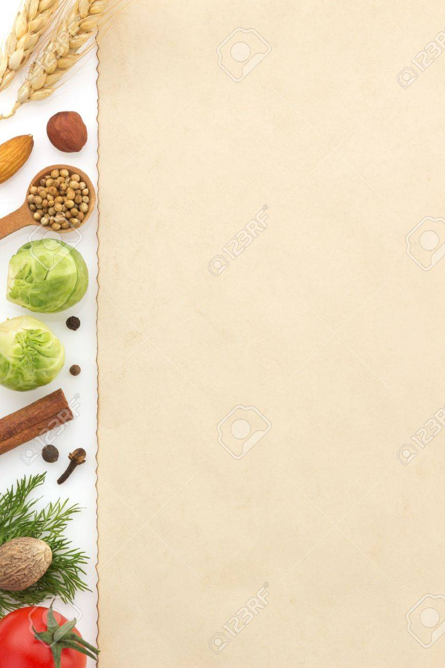 food ingredients and paper isolated on white background - 19576084