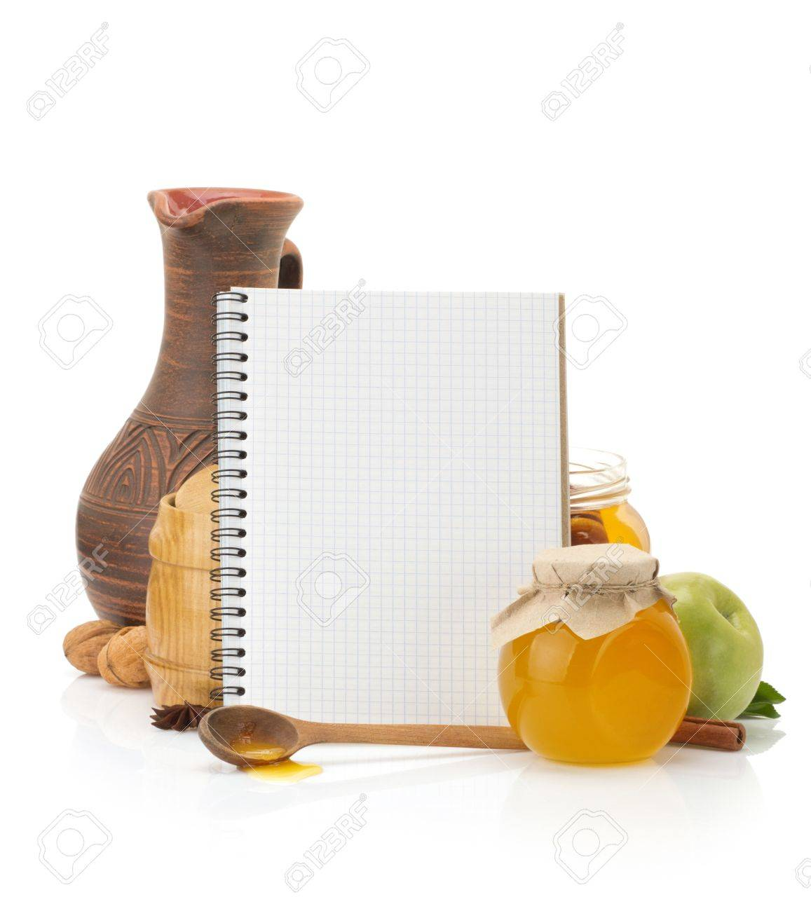 cooking recipes book and food isolated on white background - 21012917