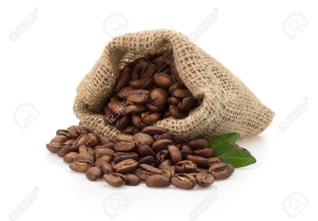 coffee beans in bag isolated on white background - 21227248