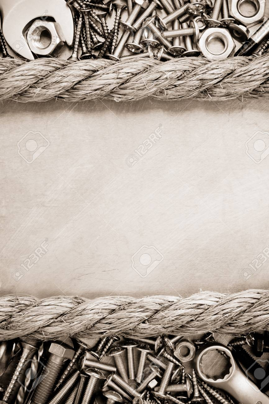 metal construction  hardware tool and rope Stock Photo - 21271904