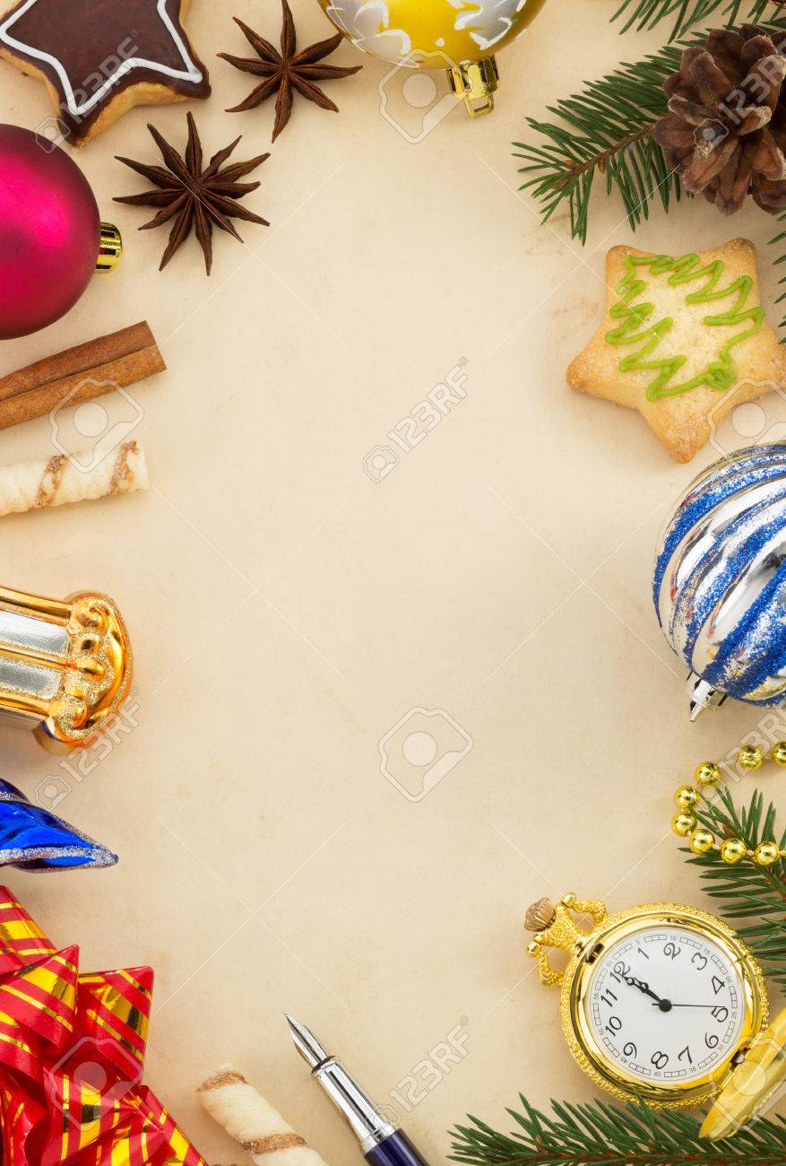 christmas decoration on aged parchment paper Stock Photo - 22512858