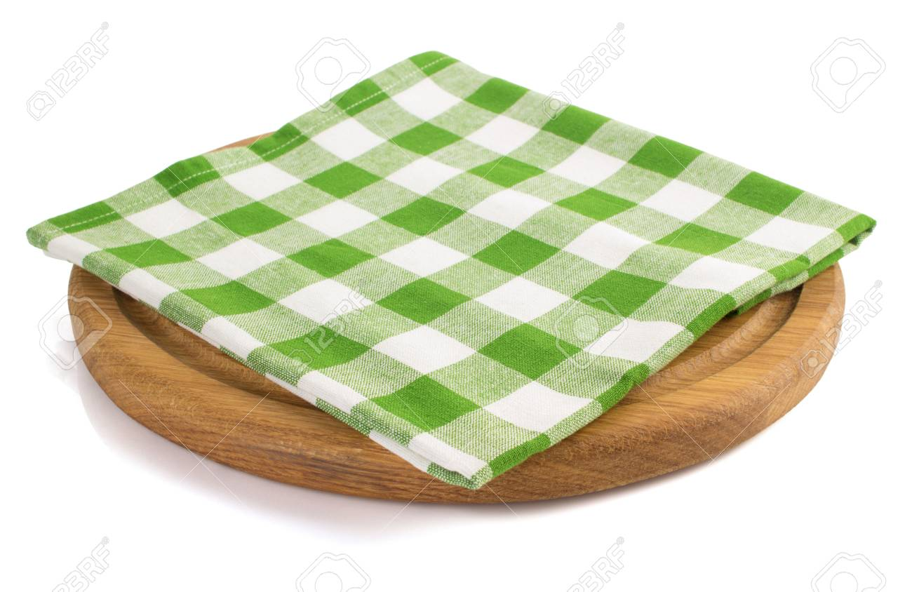 napkin at cutting board on white background - 35952203