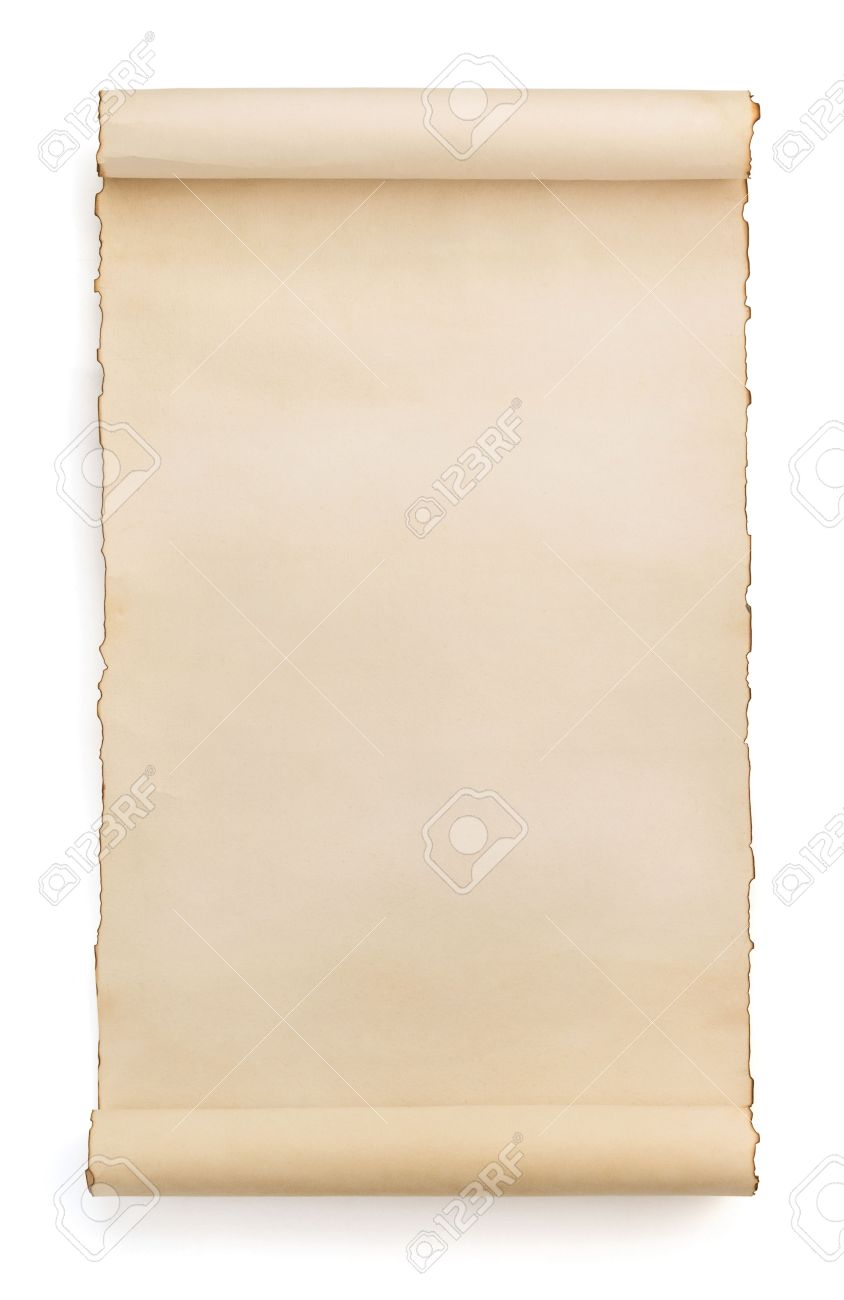 parchment scroll isolated on white background stock photo picture