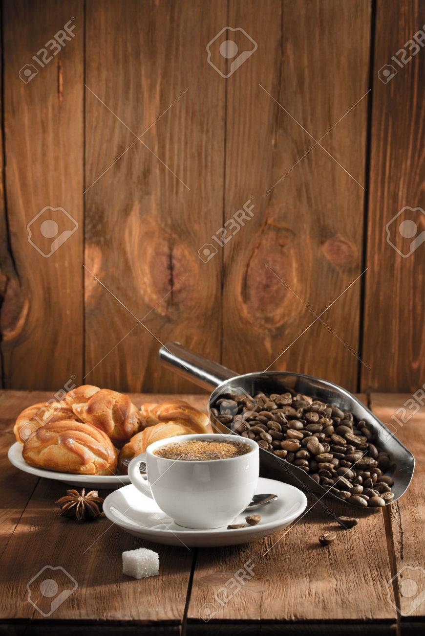 cup of coffee on wooden background - 43290877
