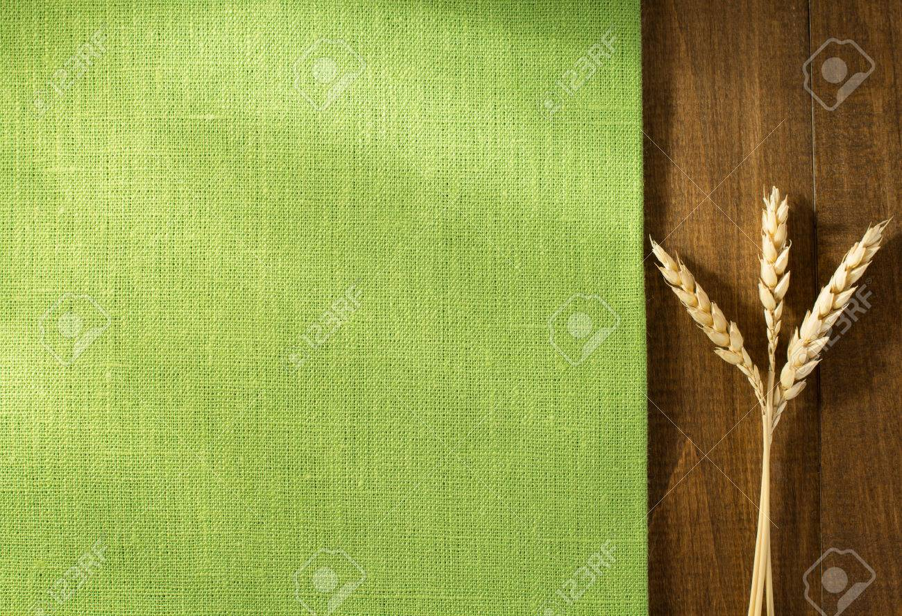 ears of wheat on wooden background - 45821119