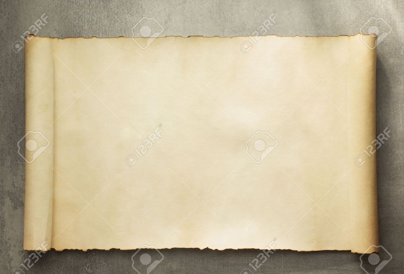 parchment scroll on old background - 50535418