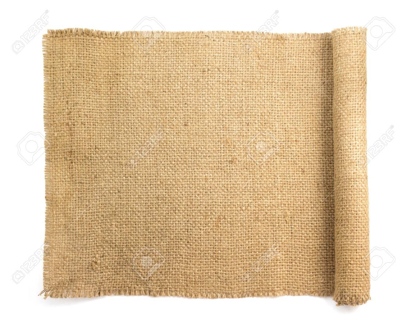 burlap hessian sacking isolated on white background - 52339064