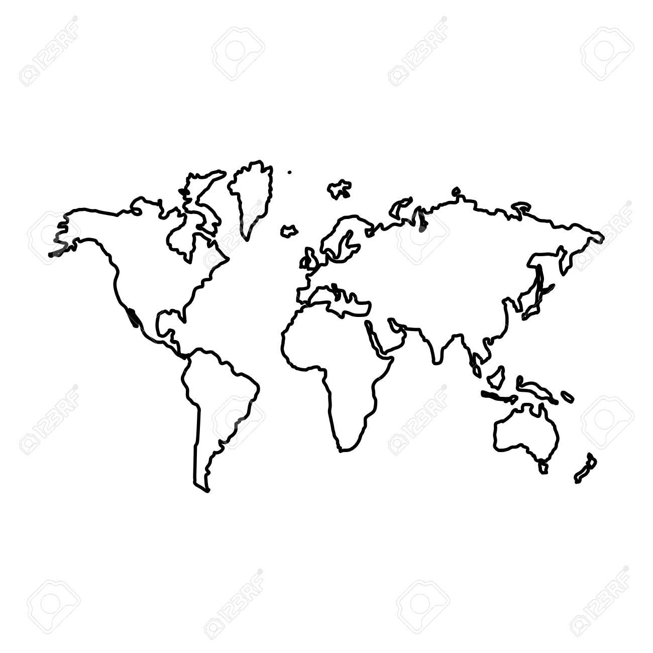 Cartina Geografica Del Mondo In Bianco E Nero.Vettoriale Mappa Del Mondo E L Icona Del Colore Nero Image 80177357