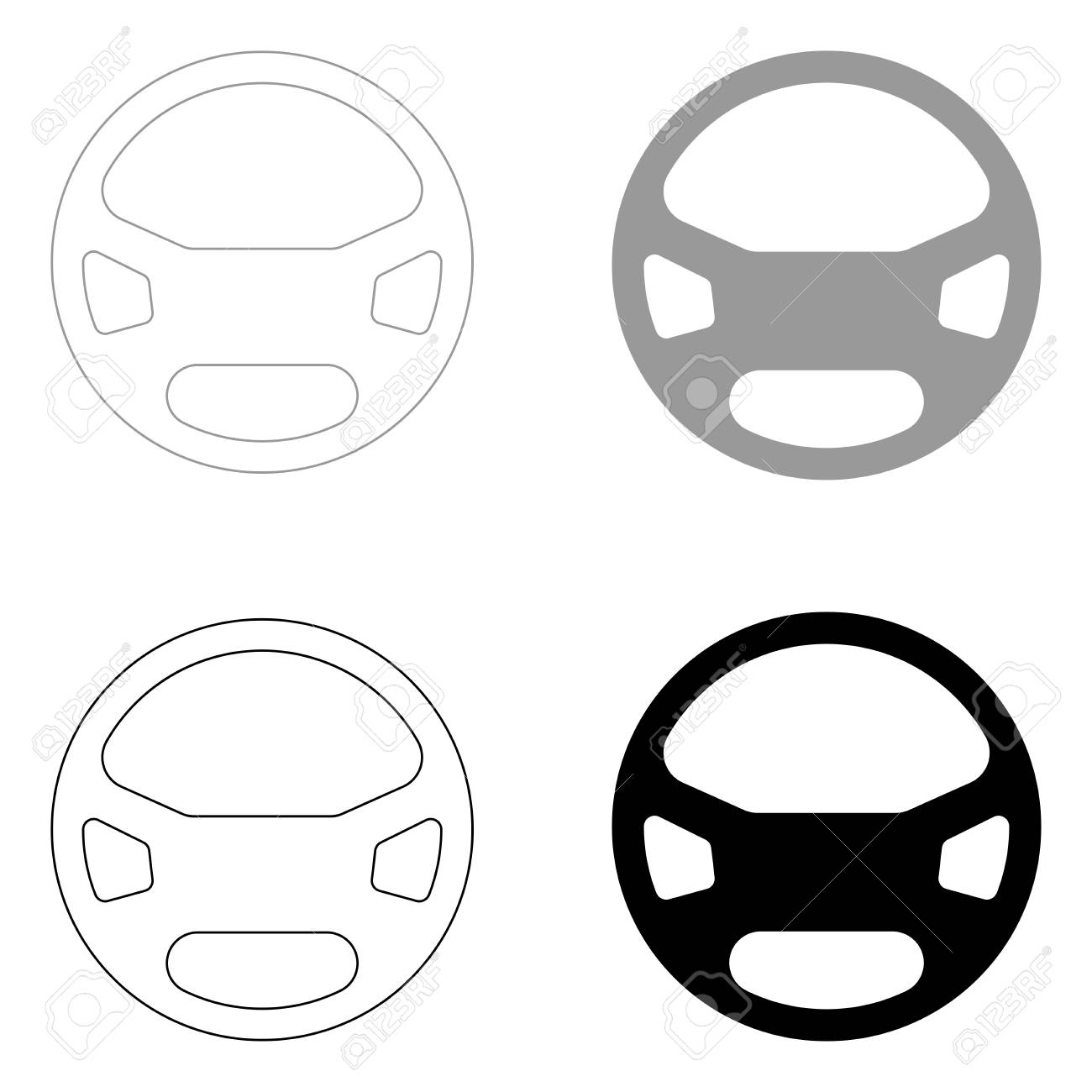 Steering Wheel It Is The Black And Grey Color Set Icon Royalty