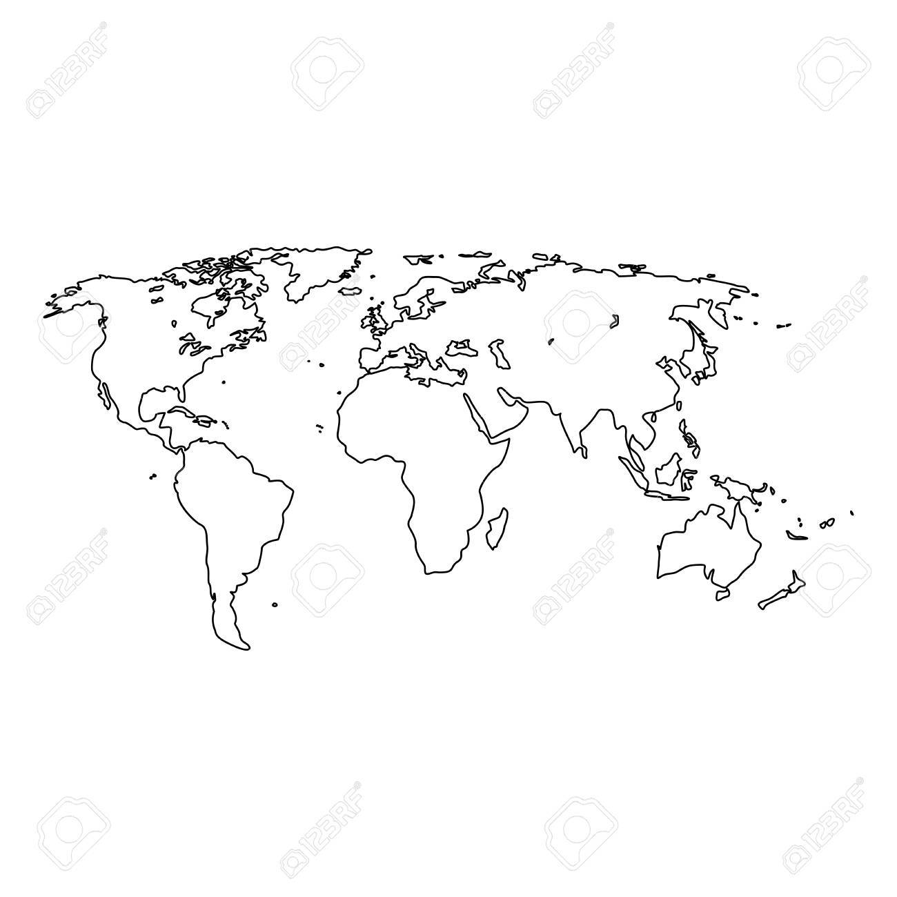 Cartina Del Mondo On Line.World Map It Is Black Icon Simple Style Royalty Free Cliparts Vectors And Stock Illustration Image 87339778