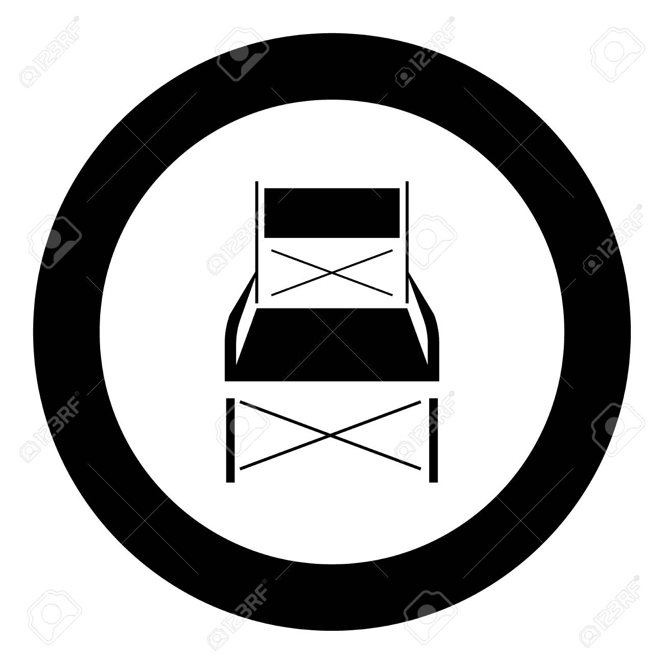 Super Folding Chair Black Icon In Circle Vector Illustration Isolated Caraccident5 Cool Chair Designs And Ideas Caraccident5Info