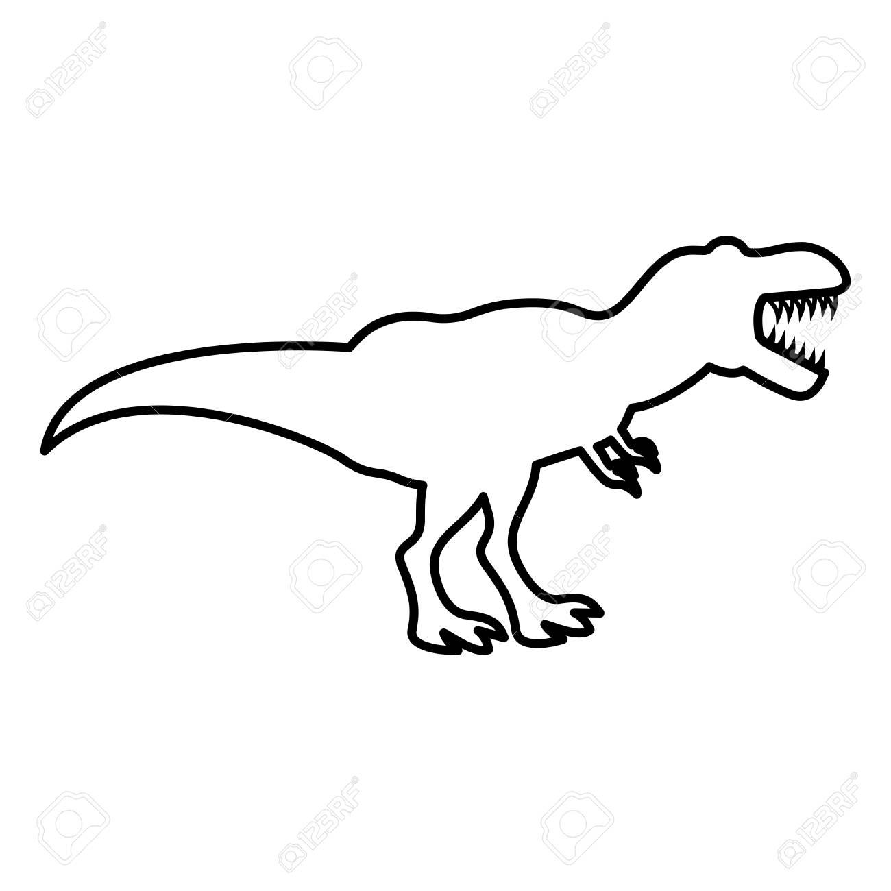 Dinosaur tyrannosaurus t rex icon black color vector illustration flat style outline - 101082210