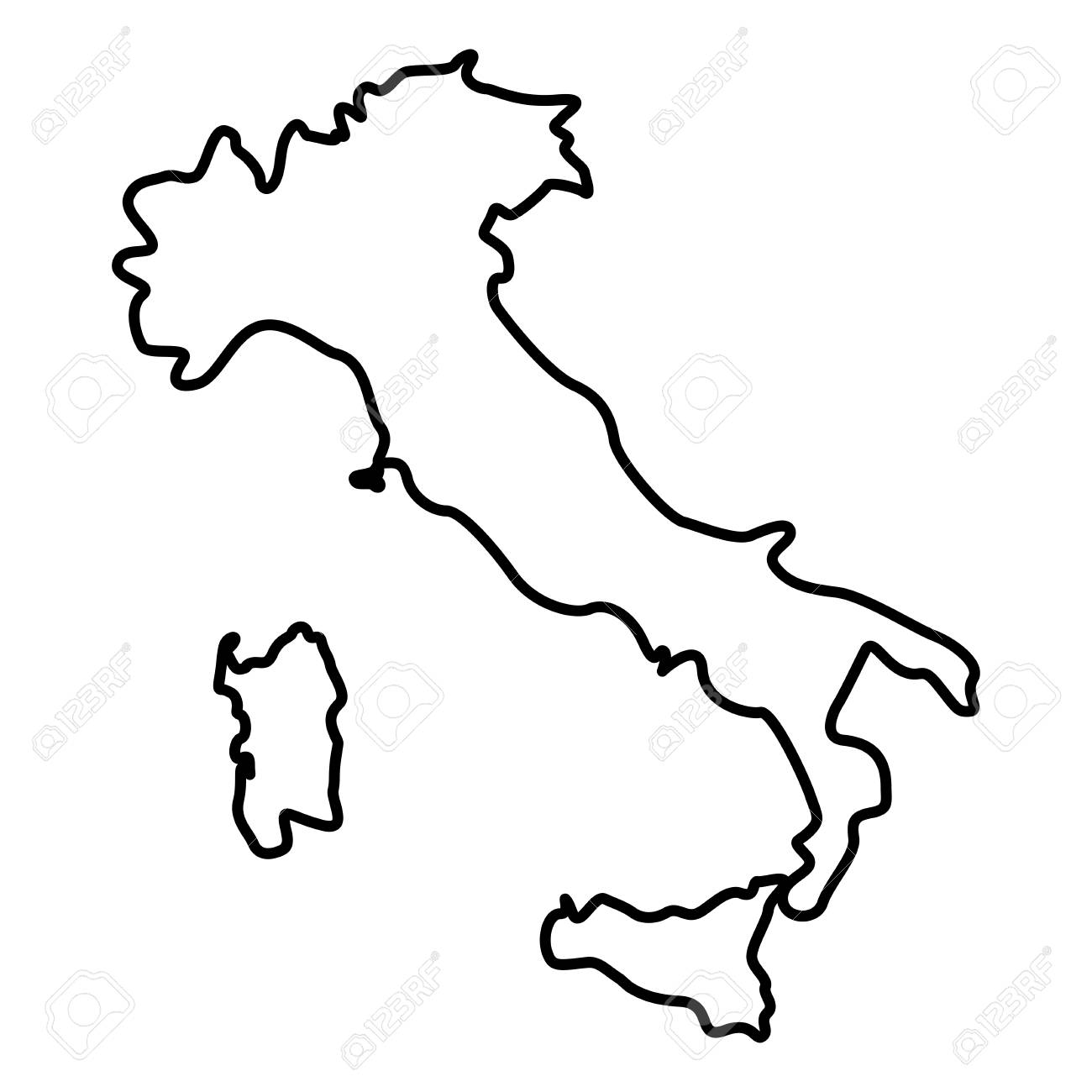 Italy Map Black And White.Map Of Italy Icon Black Color Vector Illustration Flat Style