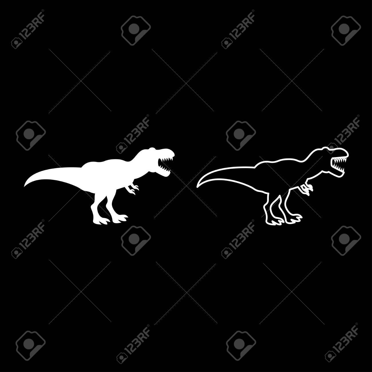 Dinosaur tyrannosaurus t rex icon set white color vector illustration flat style simple image outline - 101647251