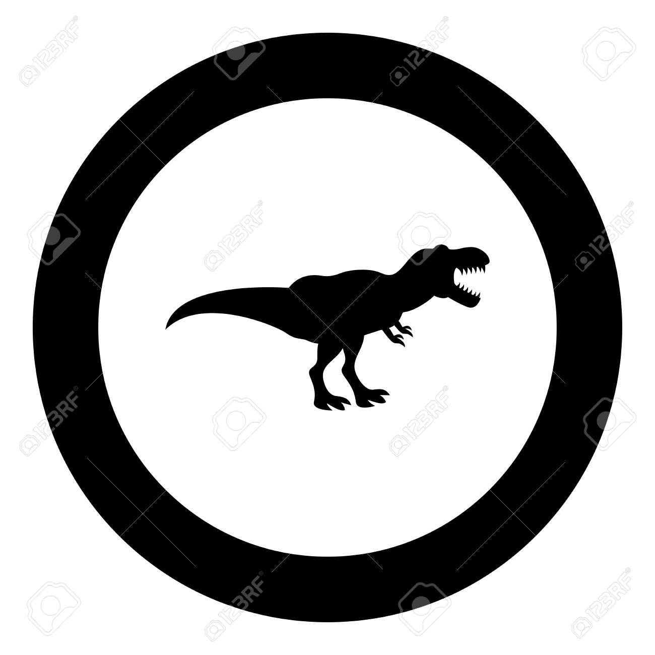 Dinosaur tyrannosaurus t rex icon black color in circle round vector illustration - 102869114