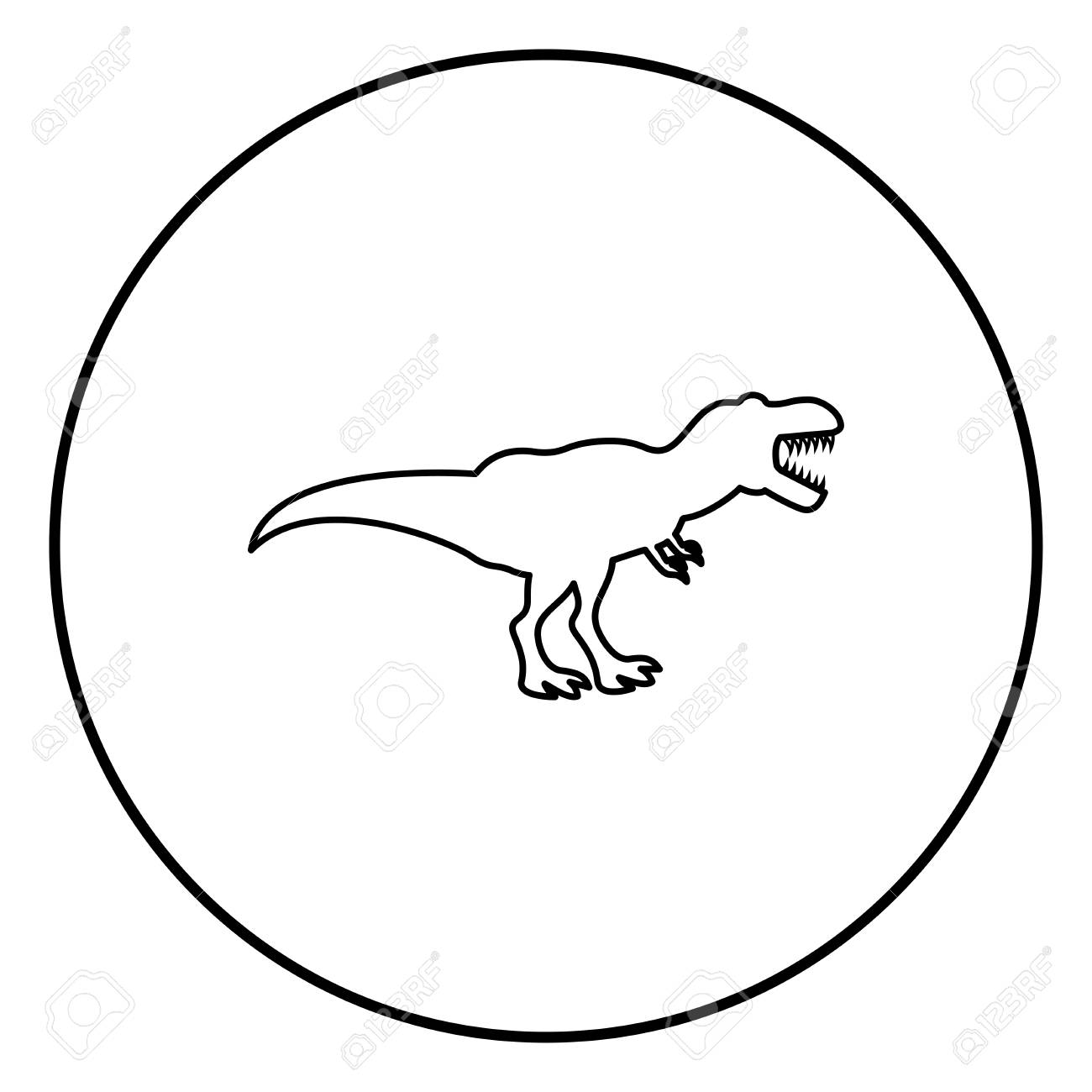 Dinosaur tyrannosaurus t rex icon black color in circle round outline - 103694887
