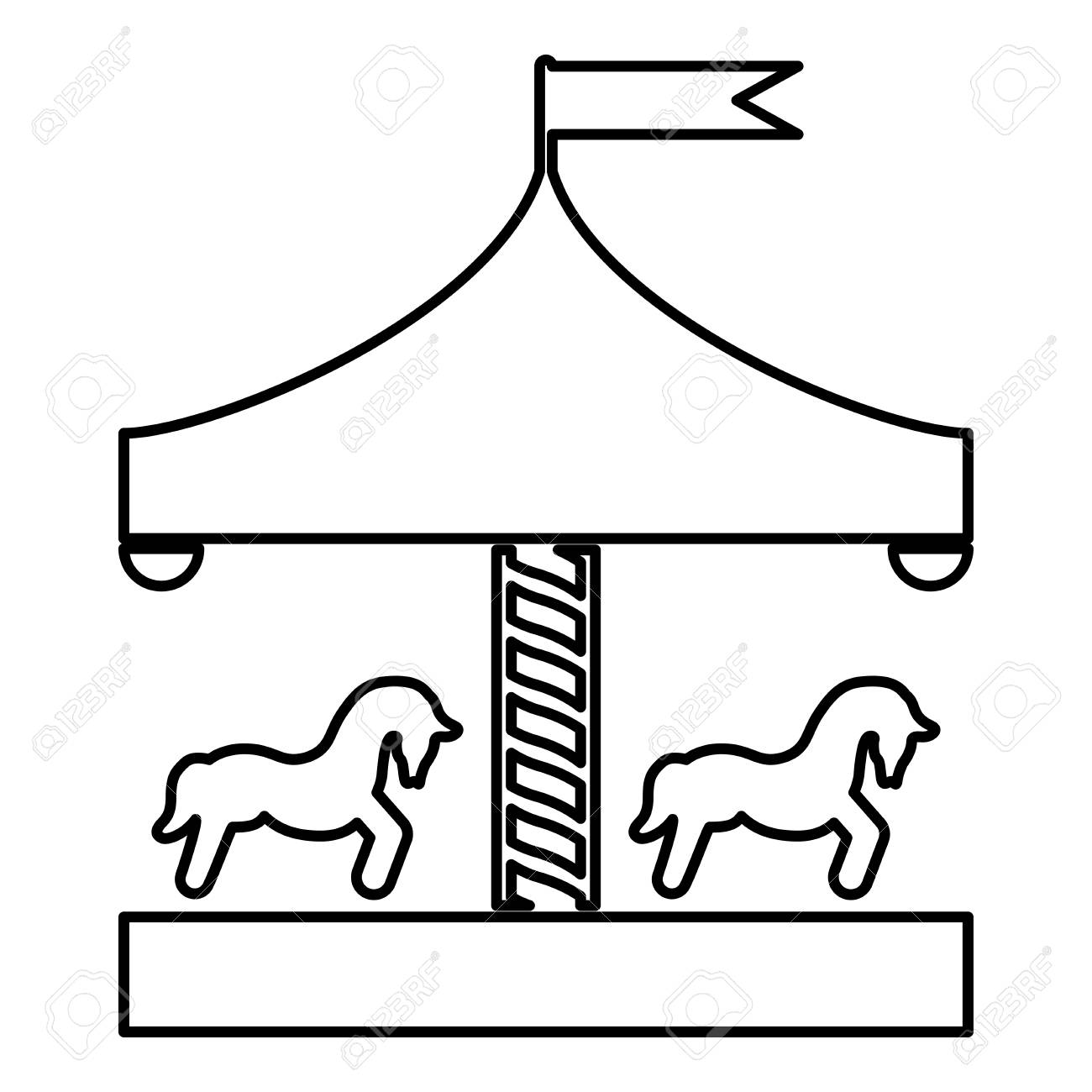 Carousel Roundabout Merry Go Round Vintage Merry Go Round Icon Royalty Free Cliparts Vectors And Stock Illustration Image 124610257