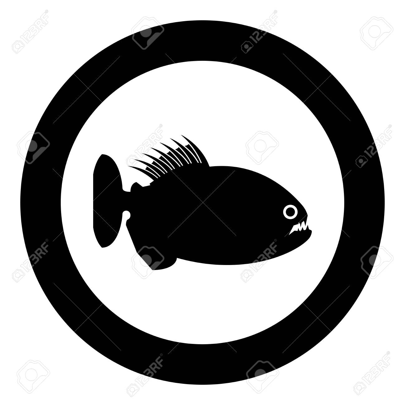 Piranha angry fish icon in circle round black color vector illustration flat style simple image - 140874318
