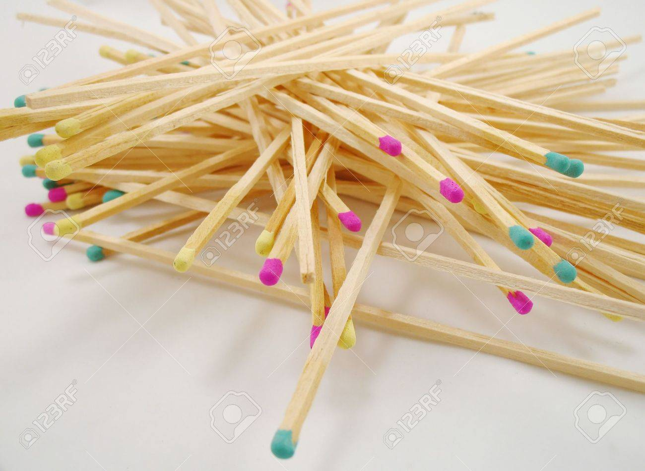 Long Fireplace Matches With Colored Tips Stock Photo   436753