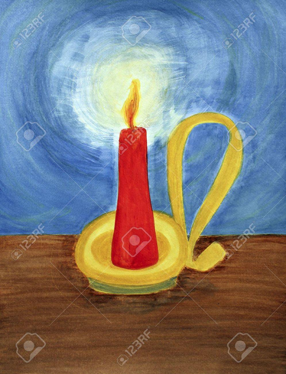 In a yellow,  gold and brass colored candle holder with an old fashioned looking handle, a red candle burns brightly. It lights up the dark blue night with its flickering, orange yellow flame letting off a yellow, white brightness. The candle sits on a br Stock Photo - 7290645