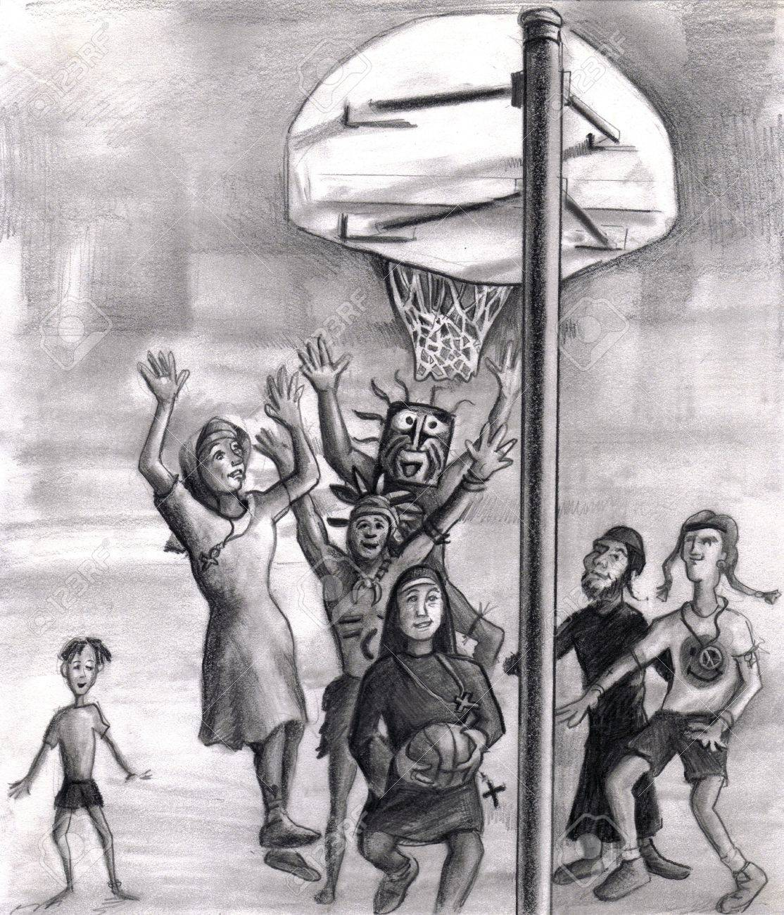 Diversity and faith based outdoor basketball game illustration. We see playing basketball a man wearing a rectangle tribal mask, a second tribe man, and a white nun type clothes missionary all have their hands in the air trying to block the shot. The shoo Stock Illustration - 7290611