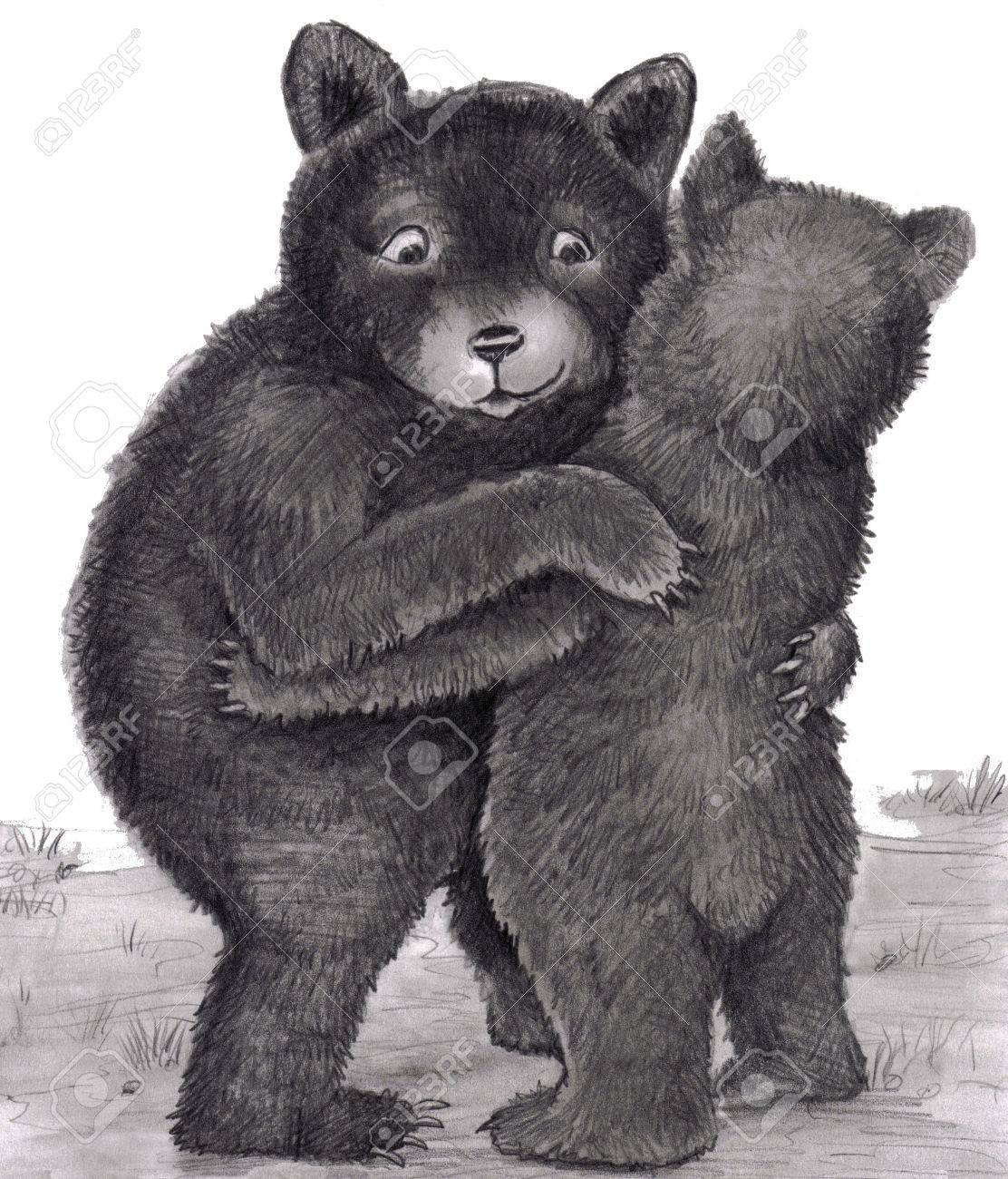 Two bears are standing up, with arms around each other, giving each other a bear hug outdoors in nature during the day. Black, white, gray original illustration. Stock Illustration - 7322012