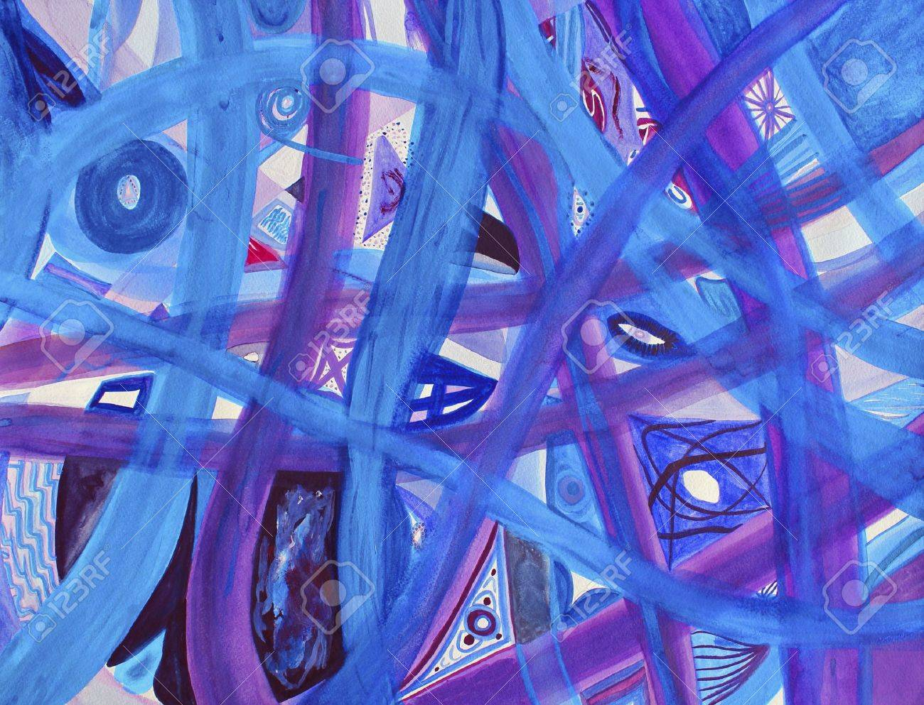 Abstract blue, purple, red roads on white background. Many paths of blue and purple intertwine along with small areas of red on a background of white. Original watercolor art painting. Stock Photo - 7322010