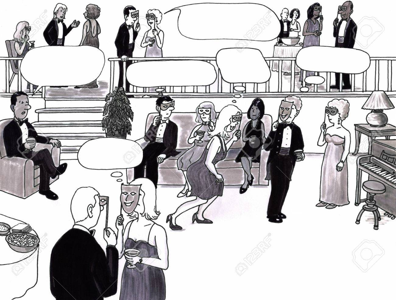 Room full of sophisticated adults in an elegant room at a party socializing. Thought bubble spaces are above some of their heads. Stock Photo - 7333713