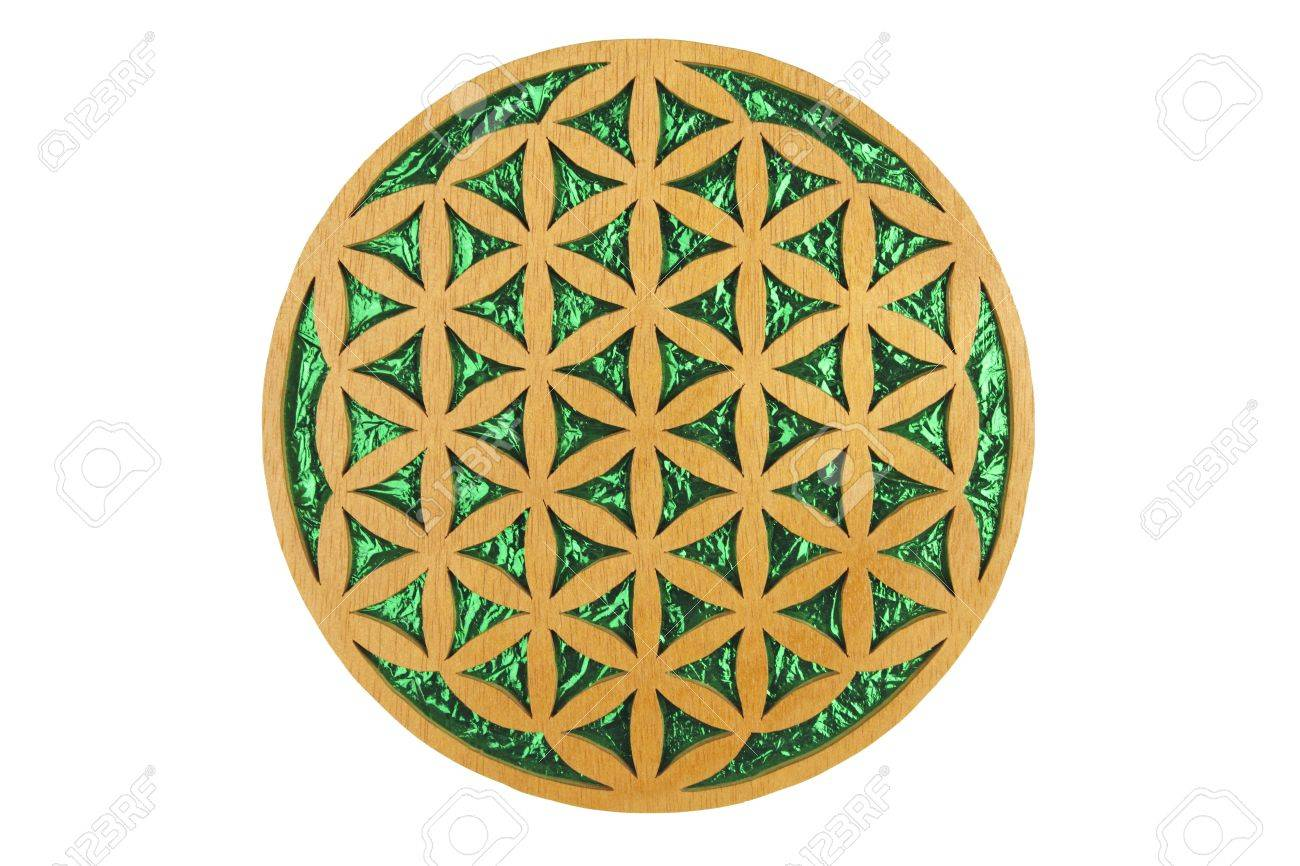 Wood and green foil flower of life sacred geometry symbol. Stock Photo - 7728333