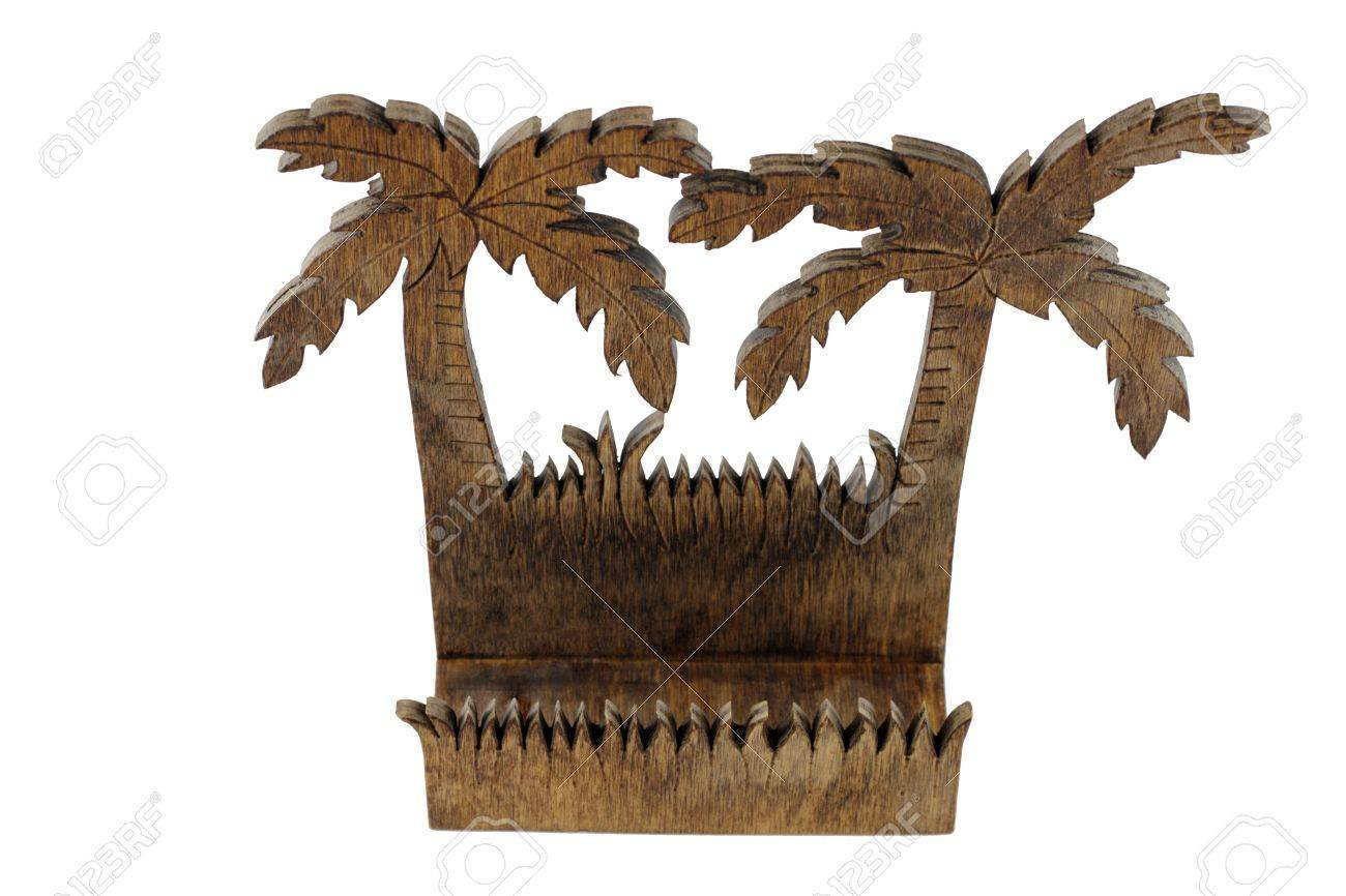 Empty dark wood business card holder in the shape of two tropical empty dark wood business card holder in the shape of two tropical palm trees stock colourmoves