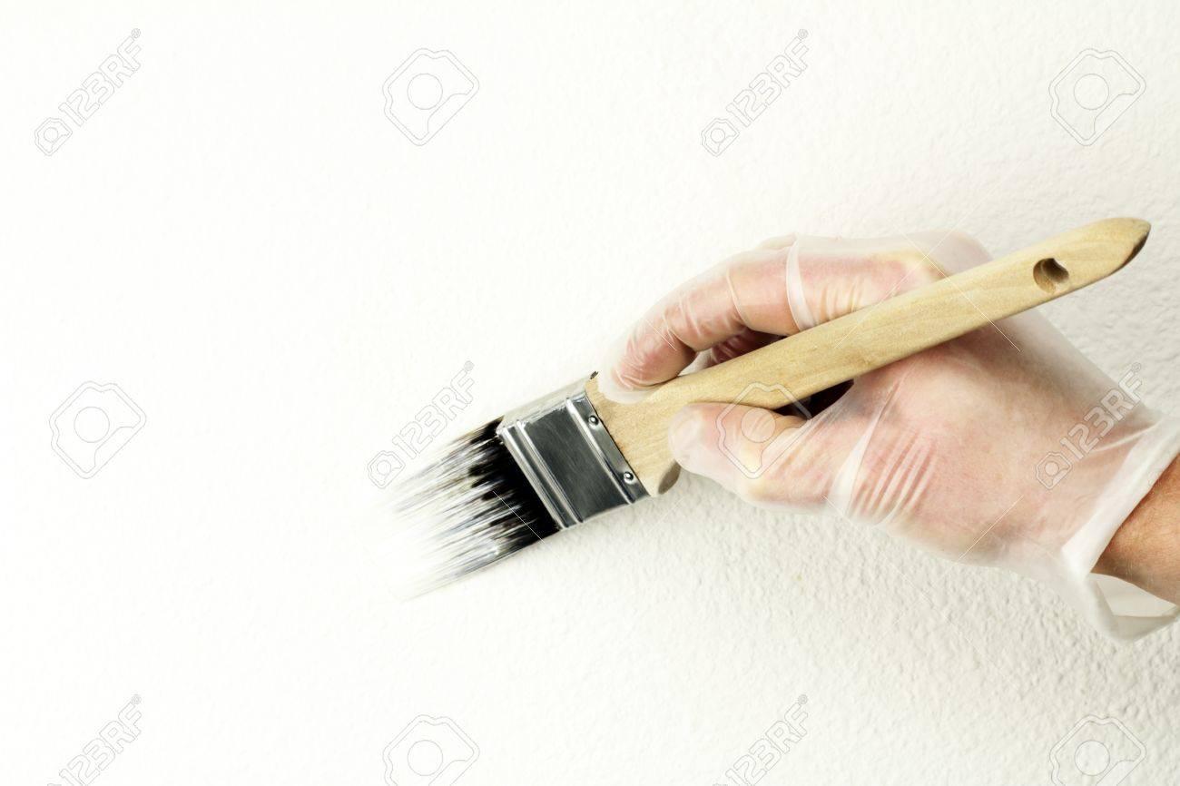 Accueil Touch Up Peinture Peinture Blanc Cassé Sur Le Mur Avec Un An Et Demi Pouce Brosse De Vinyle Gantée Main