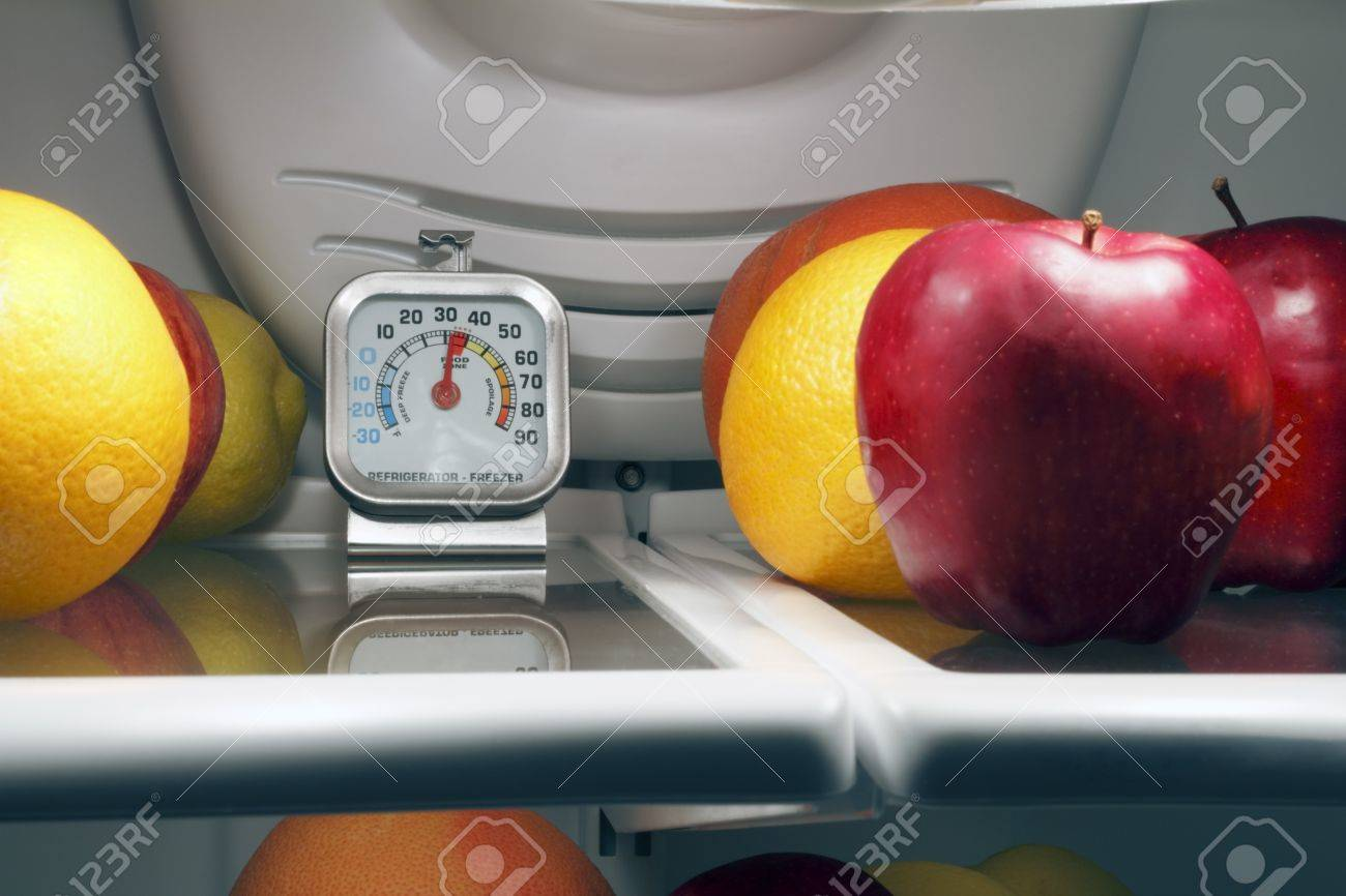 Refrigerator thermometer inside the top shelf of a cool food storage fridge to make sure perishables are kept safe and cold enough. Stock Photo - 9884383