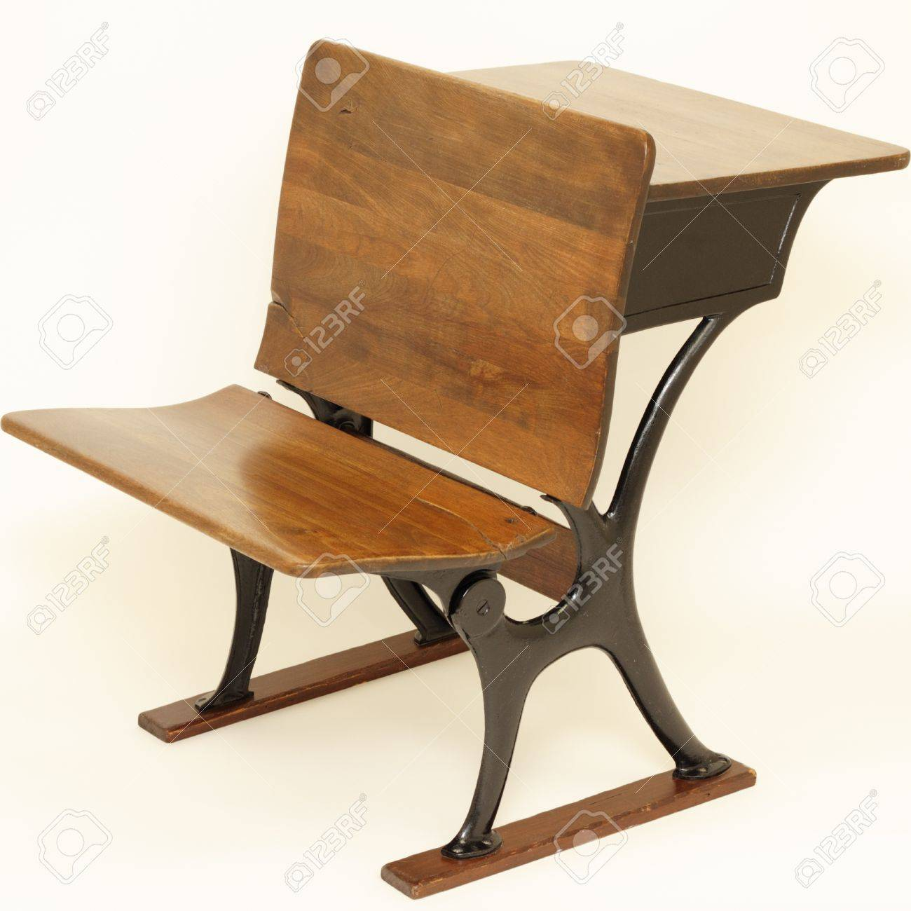 High Quality Old Wood And Metal Combination School Chair In Front And School Desk In Back.  Stock