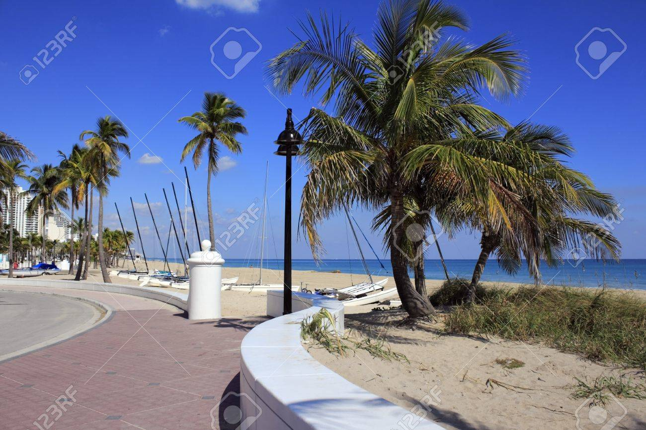 View from the top of Fort Lauderdale Beach Park or, South Beach looking north up A1A with buildings, beach and boats in the background on a beautiful sunny day with a very bright blue sky. Stock Photo - 18724810