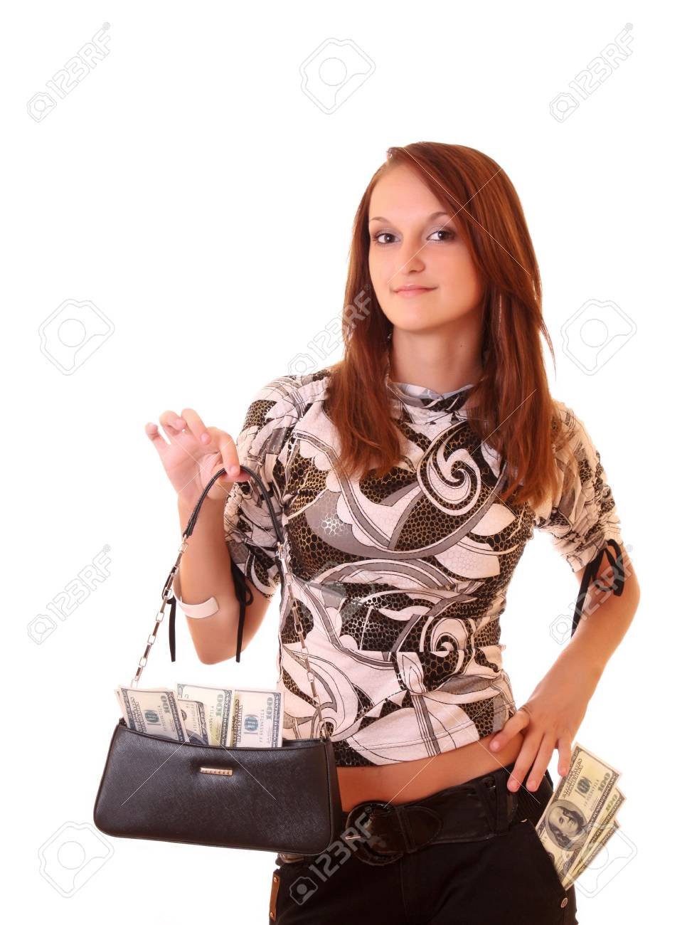 Young woman with dollars in bag isolated on white Stock Photo - 6362505