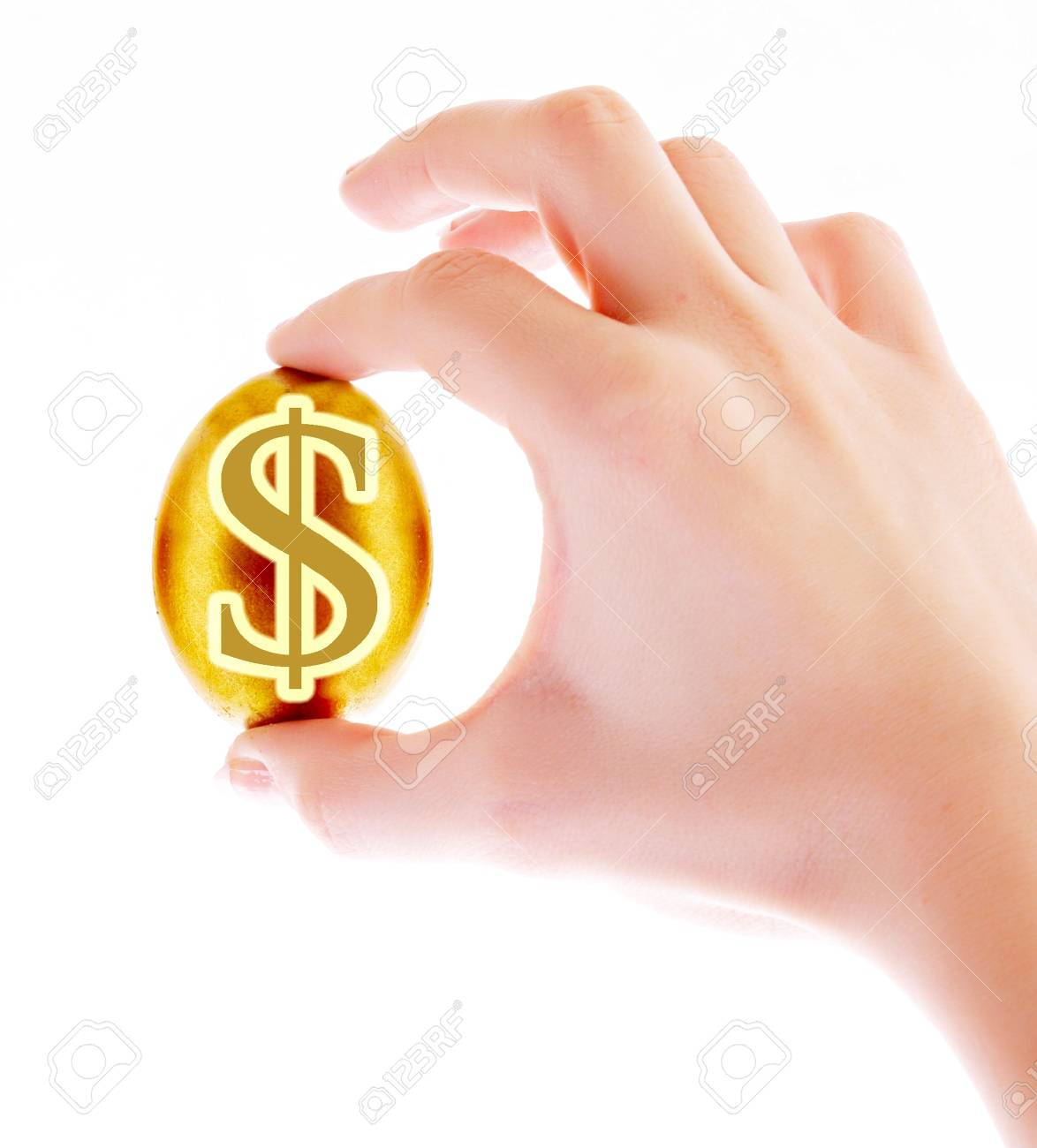 Gold  egg in hand with dollar sign isolated on white Stock Photo - 6266245