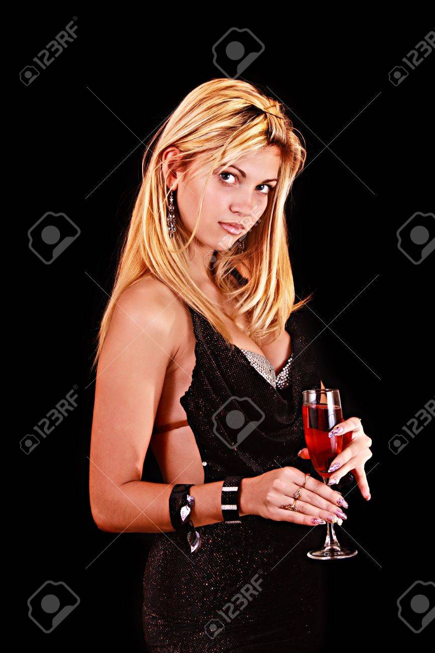 Beautiful woman with a glass of red wine on black background Stock Photo - 6363281