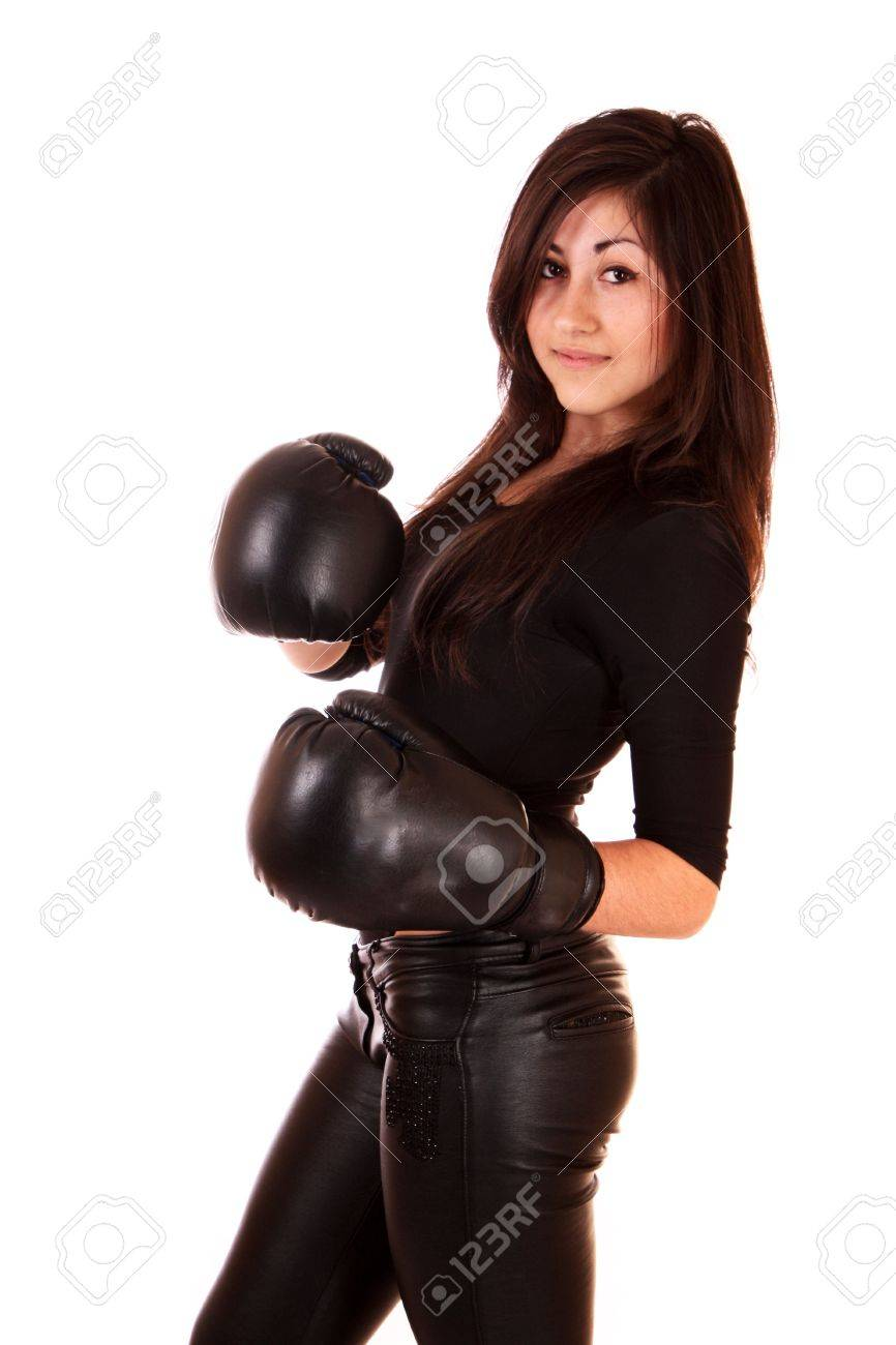 Woman with boxing gloves isolated on white Stock Photo - 7156177