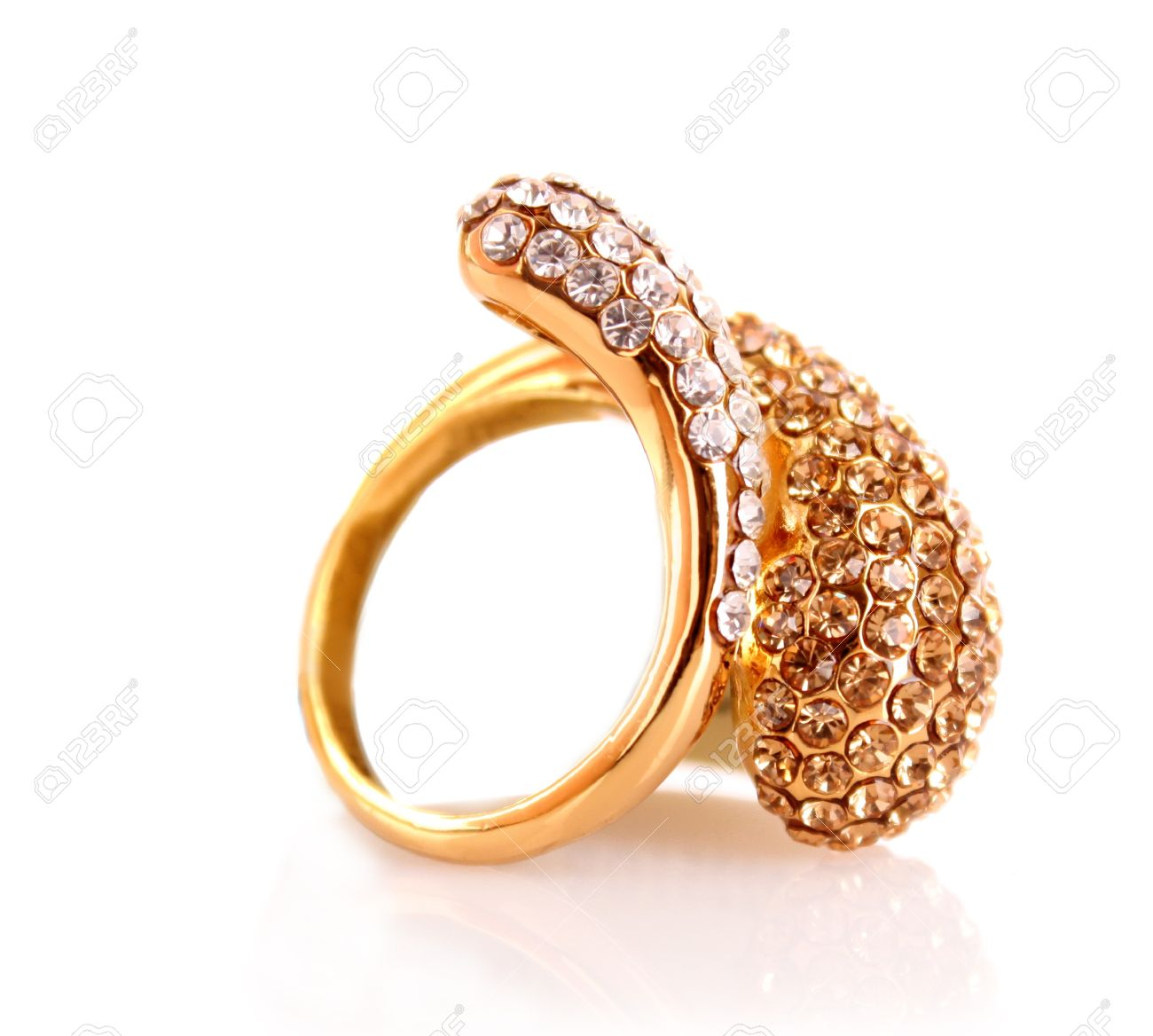 Golden Ring Isolated On White Stock Photo, Picture And Royalty ...